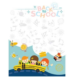 School bus with student and education icons frame vector