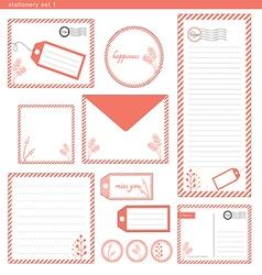 Stationery set 1 pink stripe vector