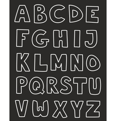 Alphabet letters hand drawn set isolated on black vector
