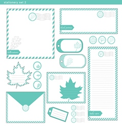 Stationery set 2 green leaf vector