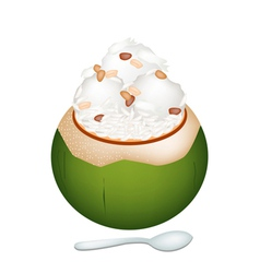 Coconut ice cream with nuts and sticky rice vector