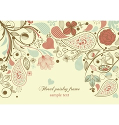 Floral frame paisley motif vector