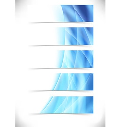 Blue bright flare wave web header footer set vector