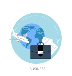 International business travel by airplane vector