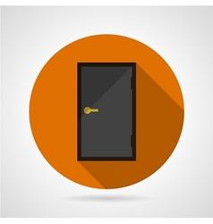 Dark gray door conceptual flat icon vector