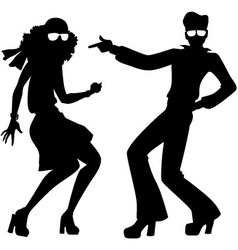 Disco dancers silhouette vector
