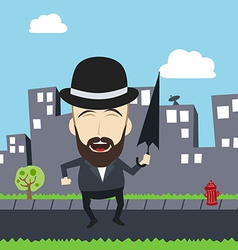 Fun guy with umbrella and bowl hat vector