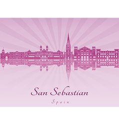 San sebastian skyline in purple radiant orchid vector
