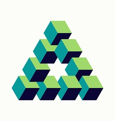 Impossible triangle sign isometric cubes shape vector