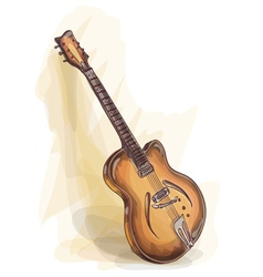 Bass guitar watercolor style vector