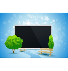 Blue background with trees and tablet computer vector