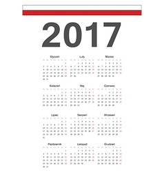 Simple polish 2017 year calendar vector