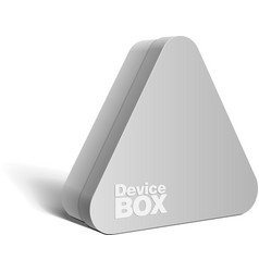 Realistic gray package triangular shape box for vector