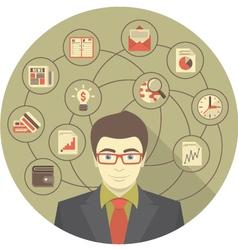 Modern businessman concept in gray circle vector