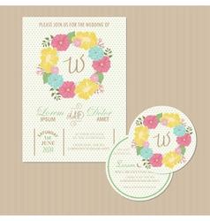 Set of wedding invitation card vector