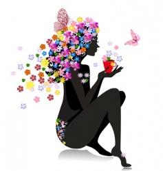 Girl with tea vector