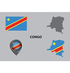Map of congo and symbol vector