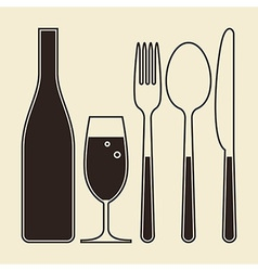 Bottle glass of champagne fork knife and spoon vector