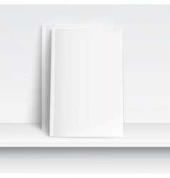 Two blank white magazines on white shelf vector