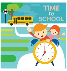 Boy and girl student riding alarm clock to school vector