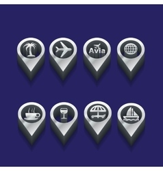 Tourist icons in isometric vector