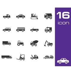 Black vehicle icon set vector