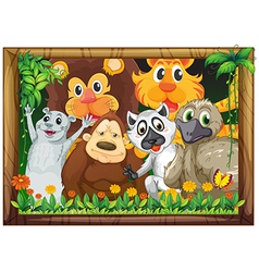 A wooden frame with animals vector