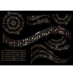 Gold musical design elements - set vector