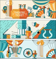 Theatre flat line banner set vector