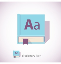 Blue dictionary book icon vector