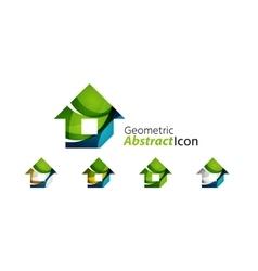 Set of abstract geometric company logo home house vector