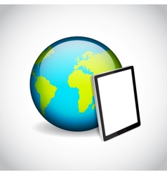Tablet pc and planet vector