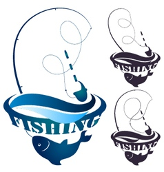 Fishing rod and fish vector