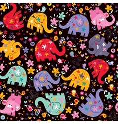 Elephants birds flowers pattern vector