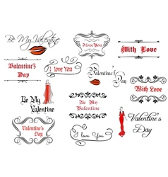 Calligraphic elements and headlines for valentines vector