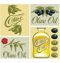 Set of design elements for olive oil vector