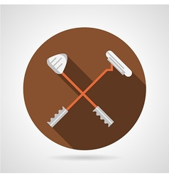 Crossed golf clubs flat icon vector