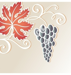 Colored floral background with grape vector