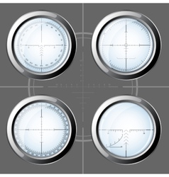 Set of sniper scopes over grey background vector
