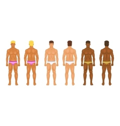 Figure of the standing man in front and behind vector
