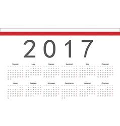 Rectangle polish 2017 year calendar vector