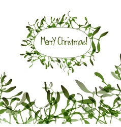 Christmas background with evergreen mistletoe vector