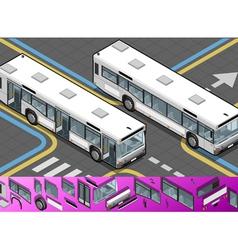 Isometric bus with opened doors vector