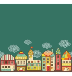 Cute houses seamless pattern vector