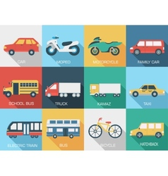 Flat cars concept set icon backgrounds design tamp vector