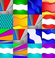 Set of sixteen different and colorful abstract vector