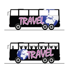 Bus travel happy color vector