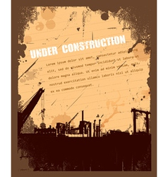 Vintage grunge under construction retro background vector