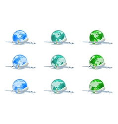 Earth globes with planes vector