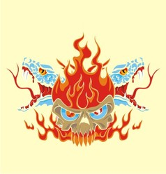 Fire skull and snake vector